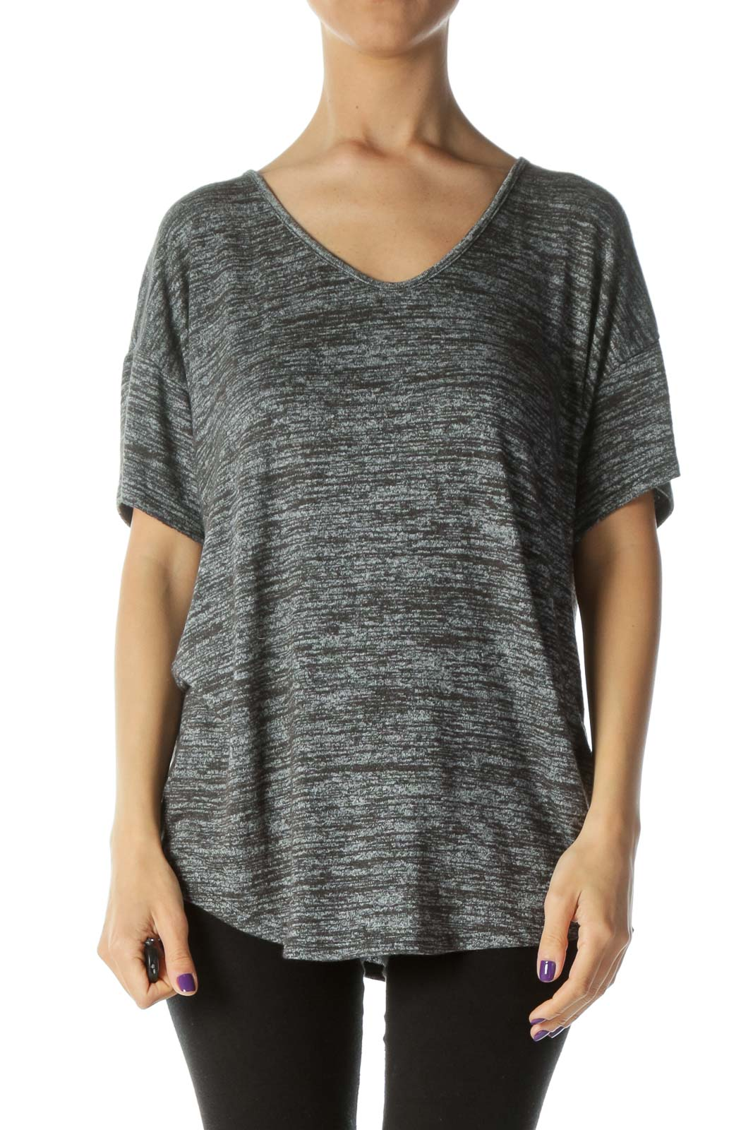 Heather-Gray Stretchy Over-Sized Short-Sleeve Tee