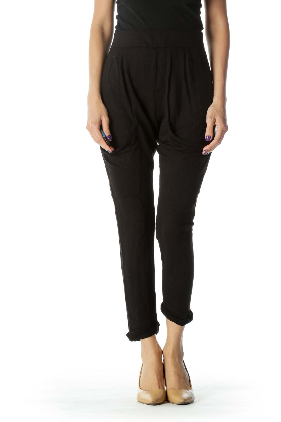 Black Slim Fit Dropped Pocket Cropped Pant