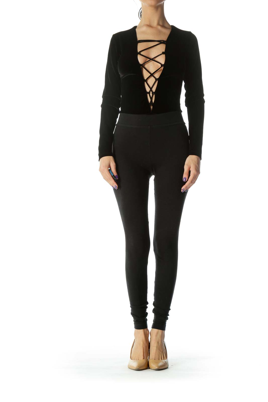 Black Velvet Recycled-Fabric Lace-up Long-Sleeve Body-Suit