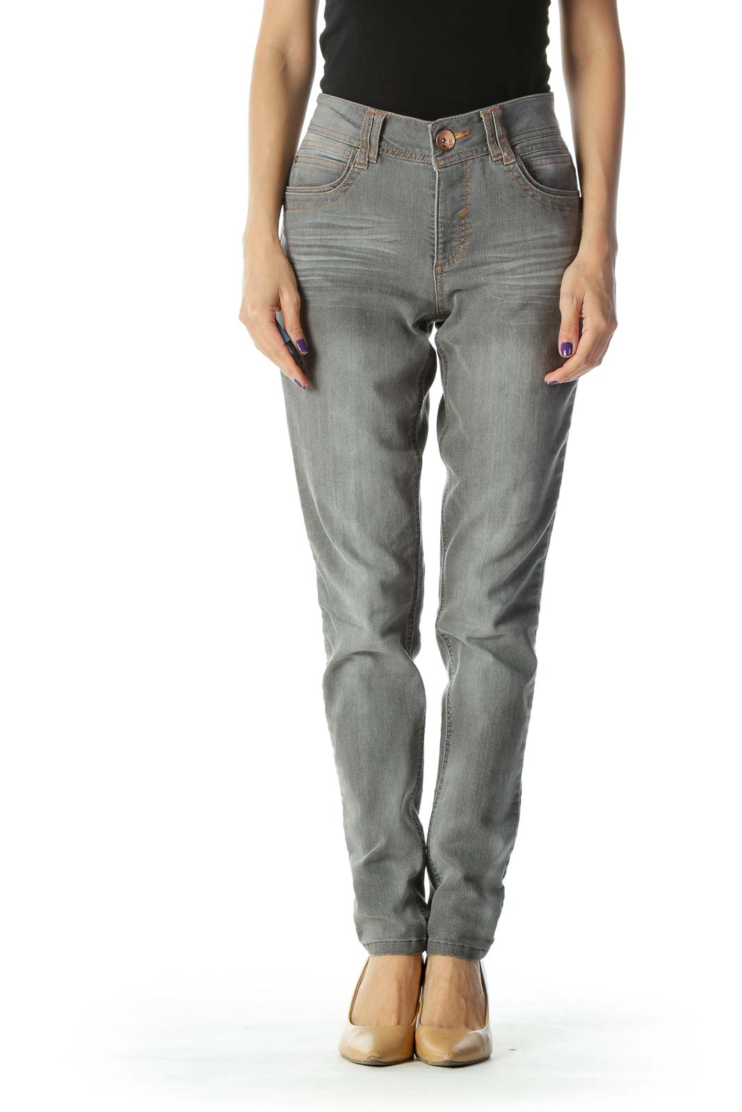 Gray Light Wash Skinny Jeans