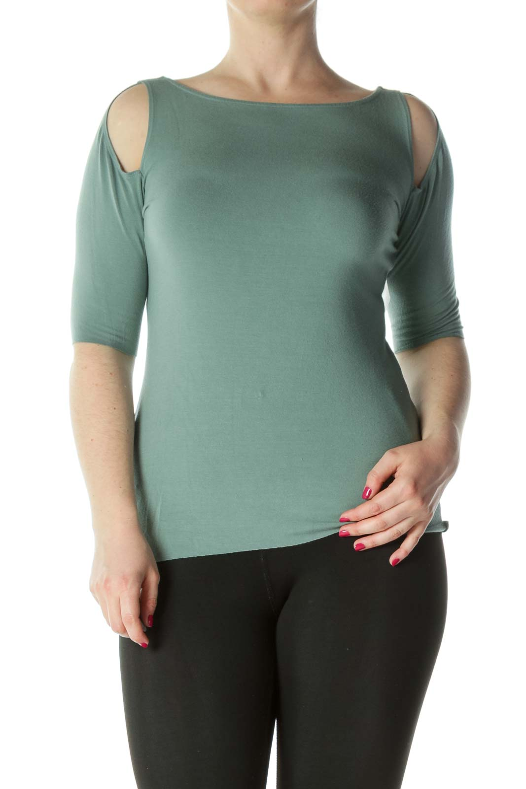 Green Jersey Short Sleeve Top