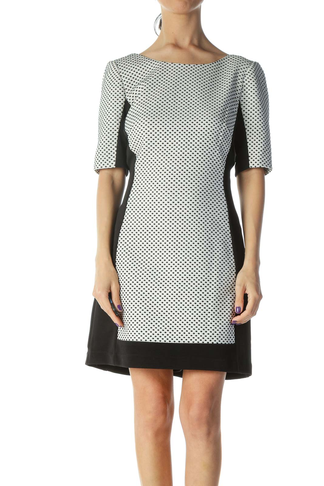Black Cream Printed Sheath Dress