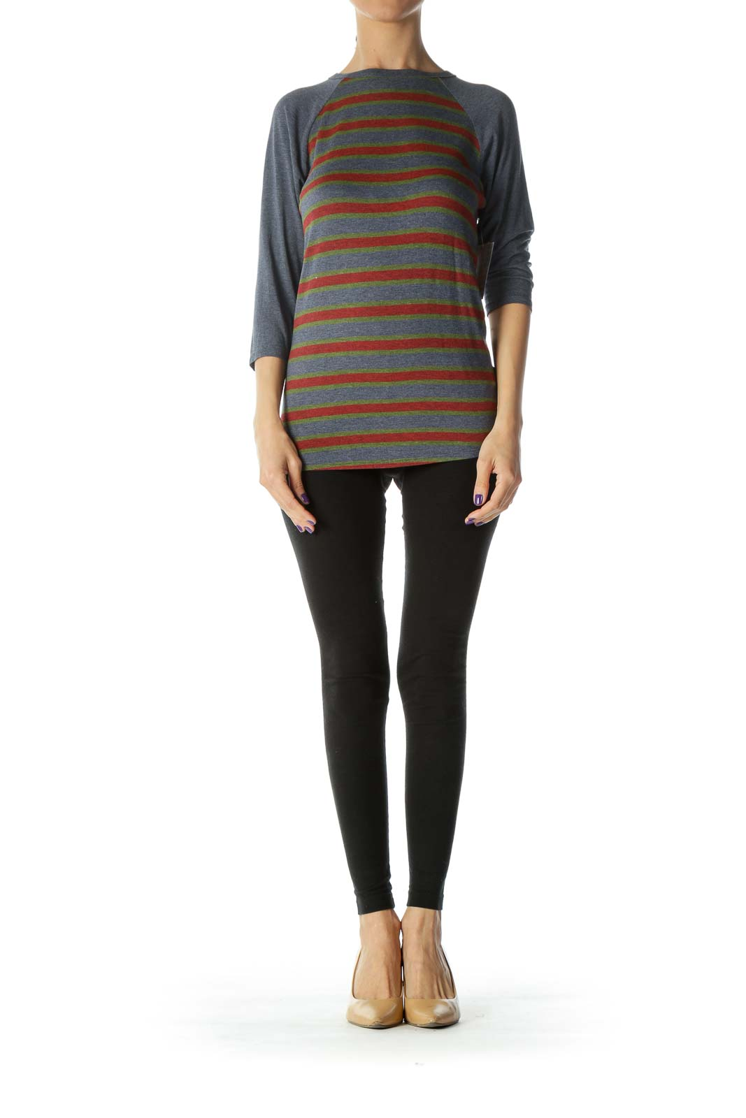 Navy Color Striped Long Sleeve Top