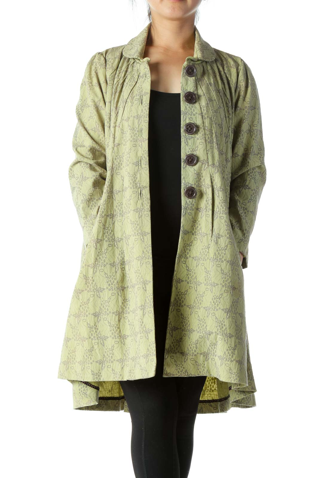 Green Printed Long Jacket