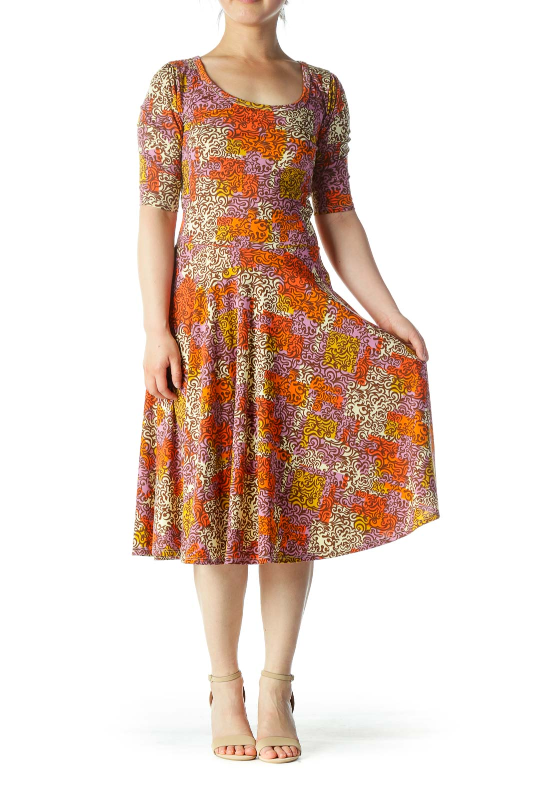 Orange Multi Shift Midi Dress