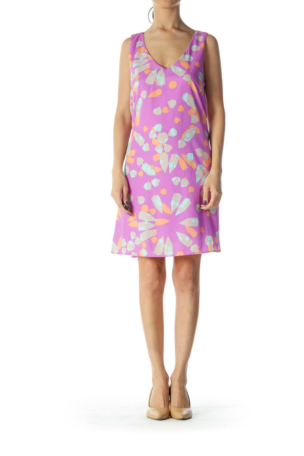 Purple with Multicolor Pattern Day Dress