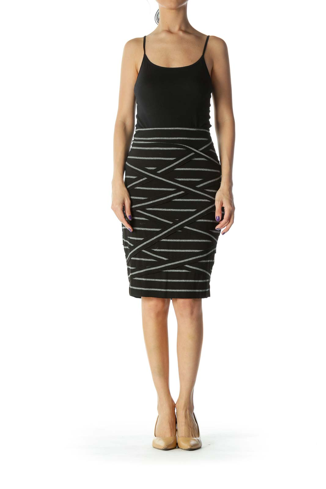 Black Striped Jersey Skirt