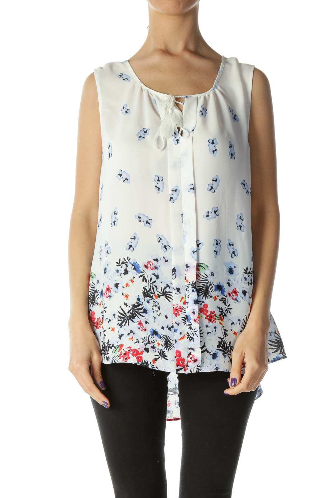 White & Multicolored Floral Sleeveless Blouse with Neck Tassel