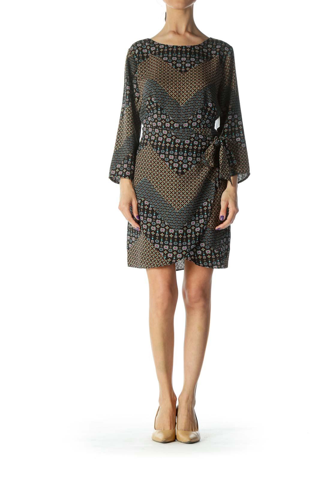 Black Floral Pattern Wrap Midi Dress