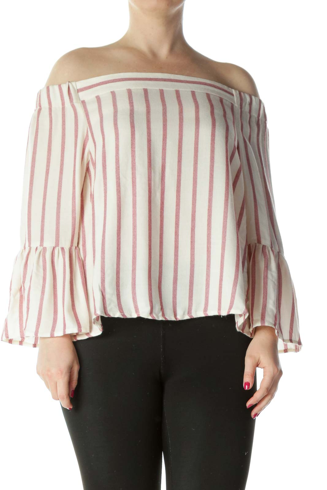 White Red Stripe Off-Shoulder Bell Sleeve Top