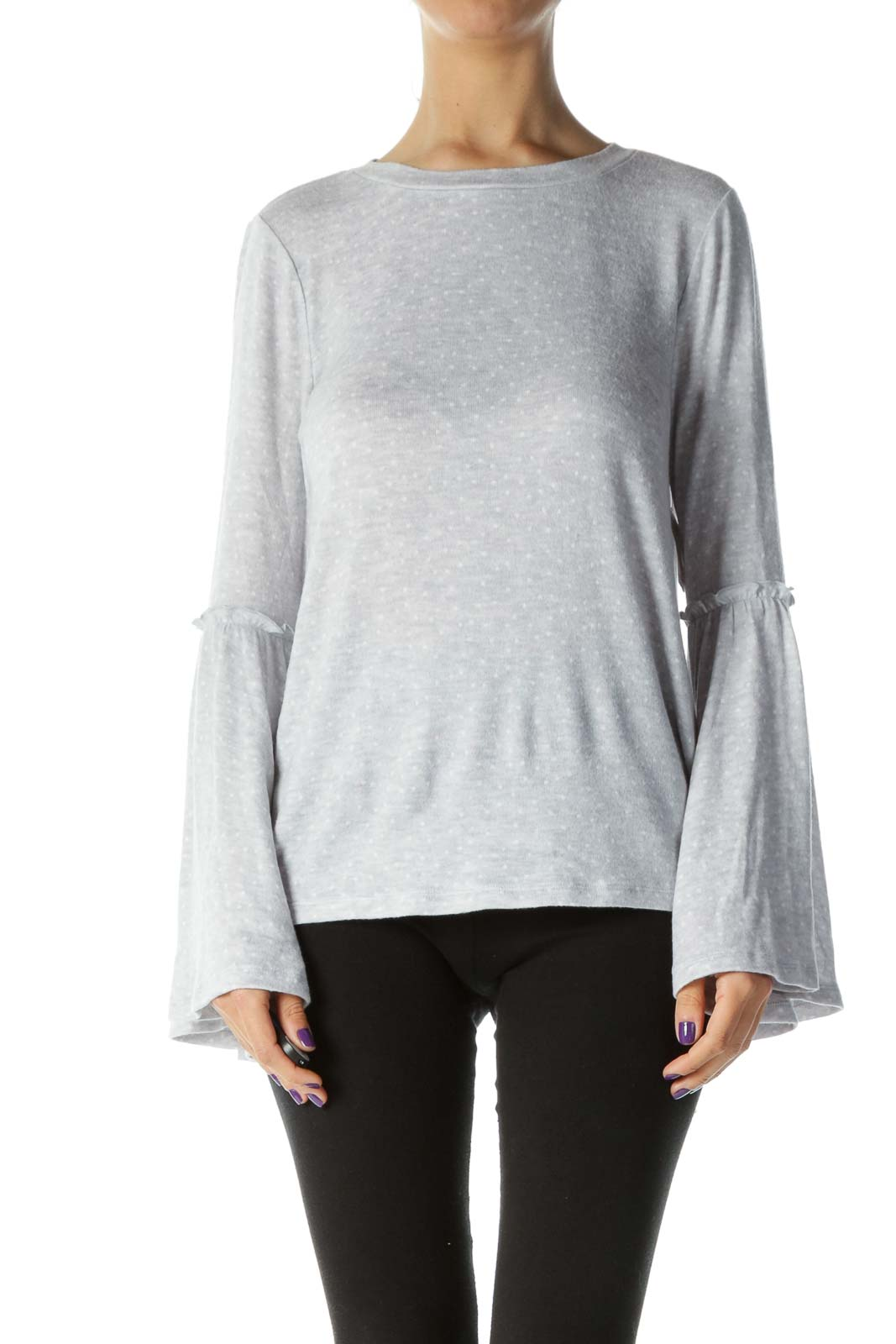 Gray Printed Bell Sleeve Top