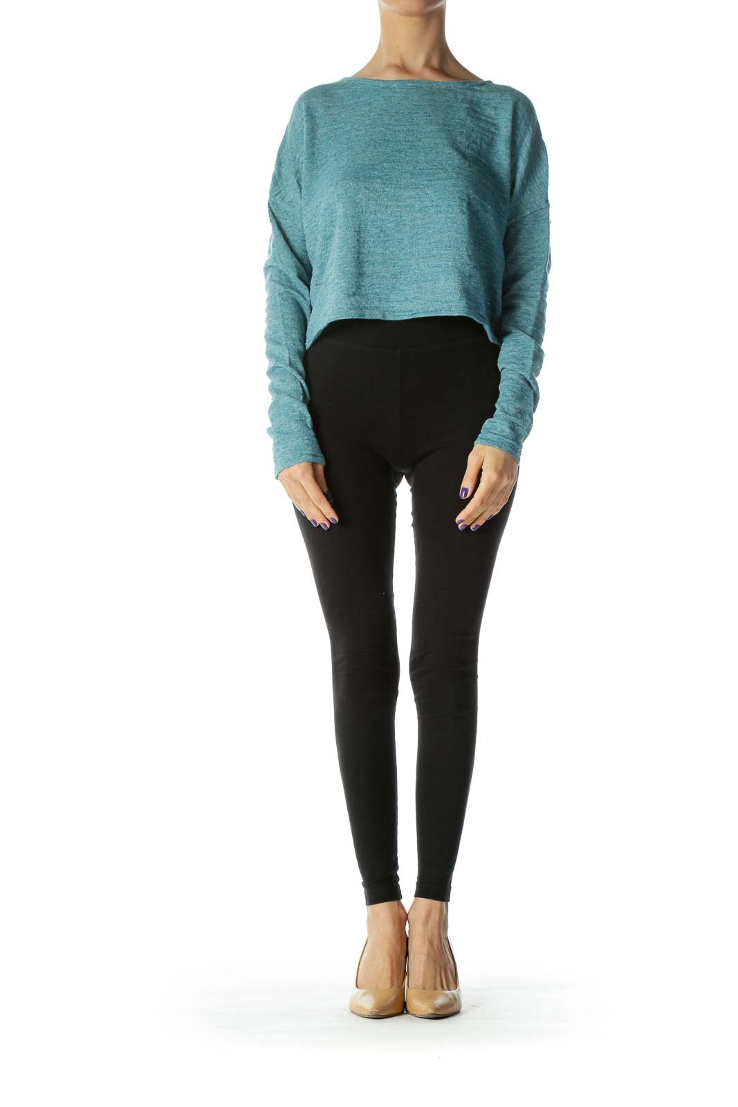 Blue Knit Cropped Sweater