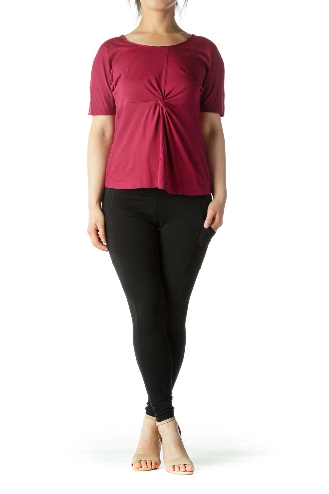 Red Short Sleeve Knot Detail Top