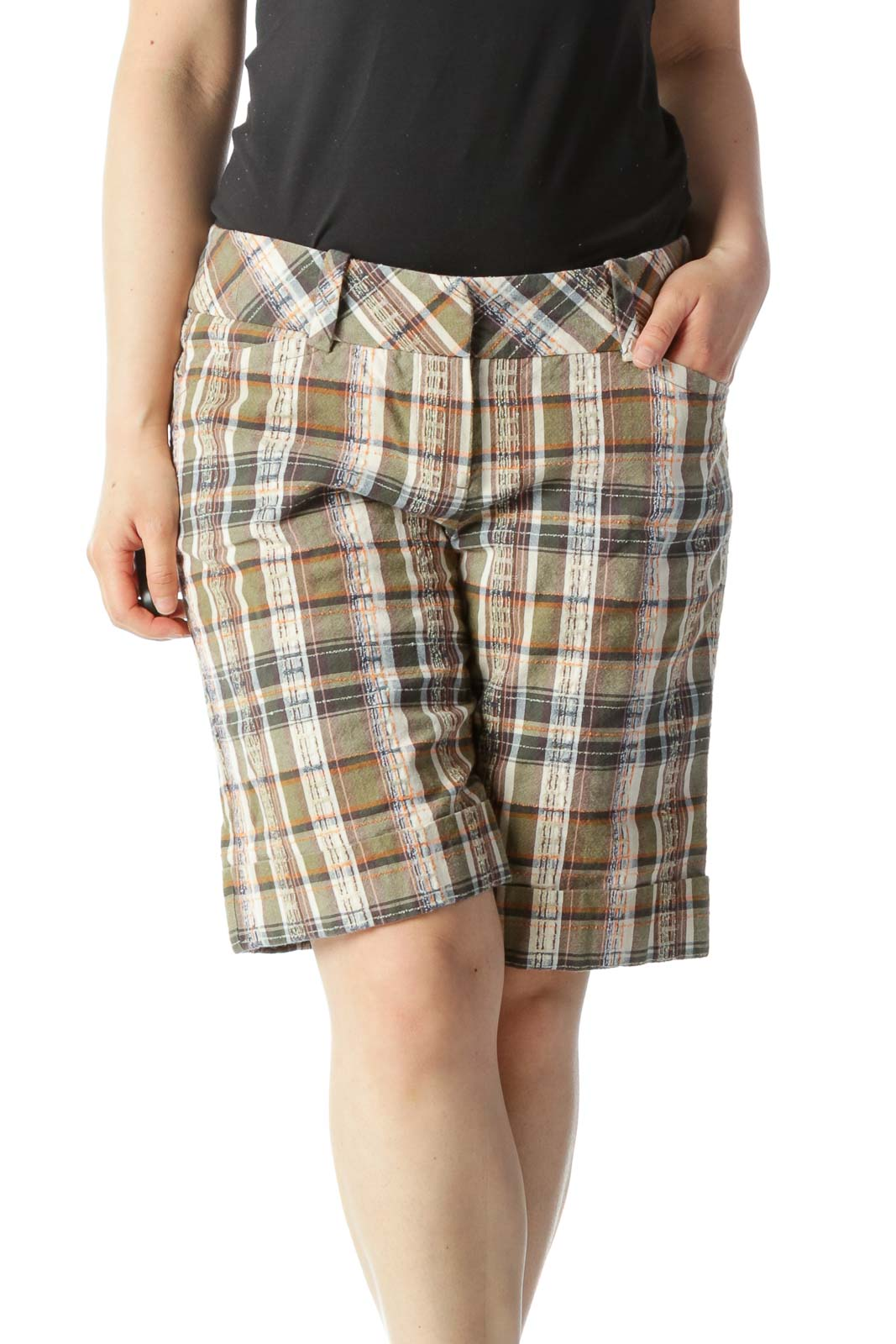 Green, Beige, and Orange Plaid Mid Rise Shorts