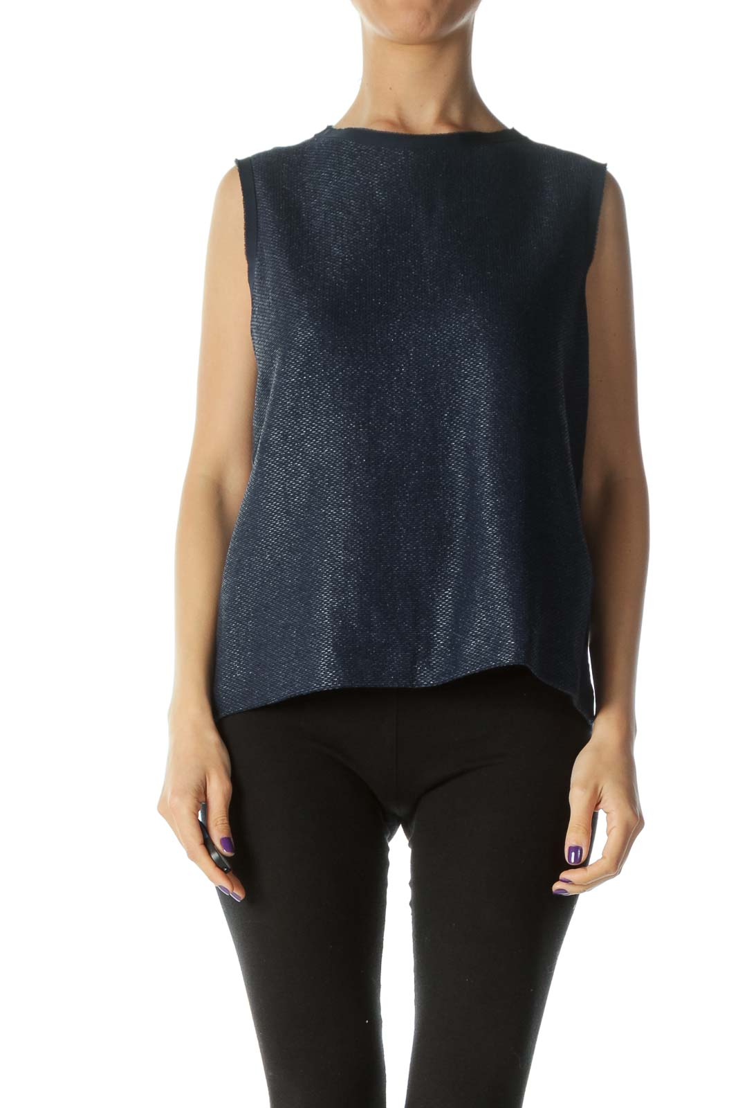 Navy Shiny Sleeveless Blouse