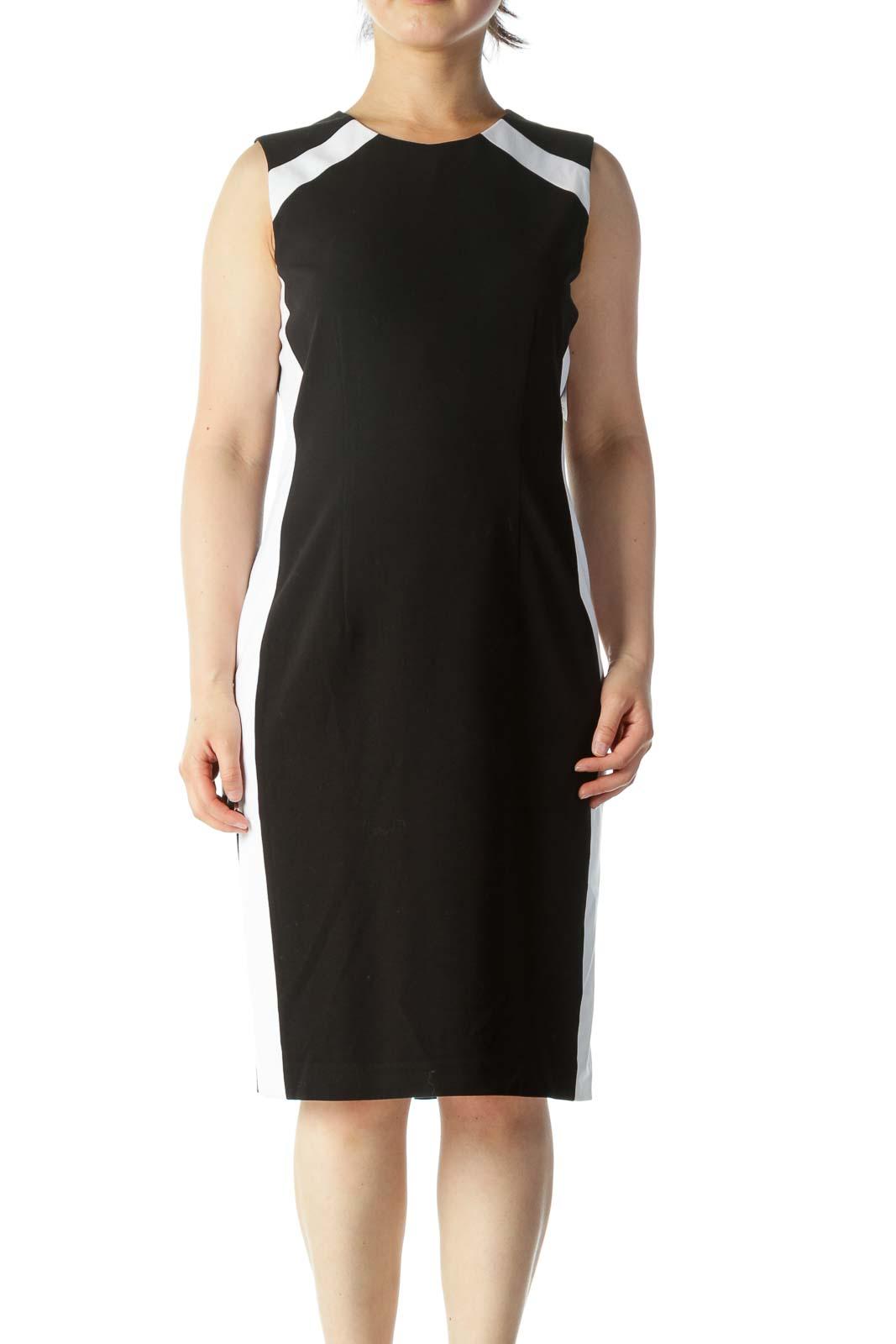 Black and White Sheath Work Dress