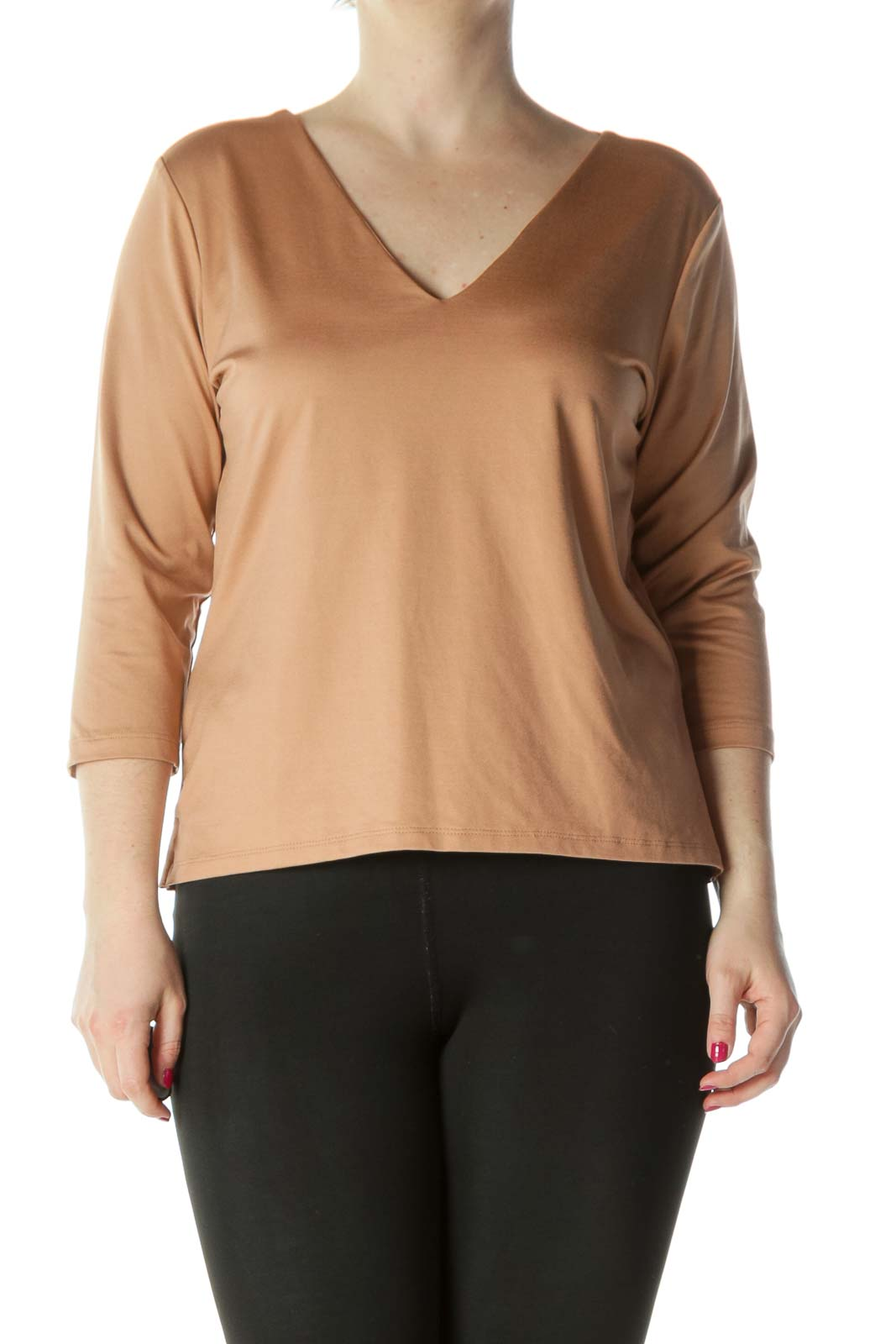 Beige V-Neck 3/4 Sleeve Top