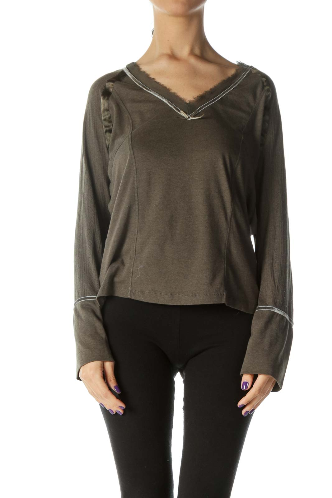 Green V-Neck Long Sleeve Top