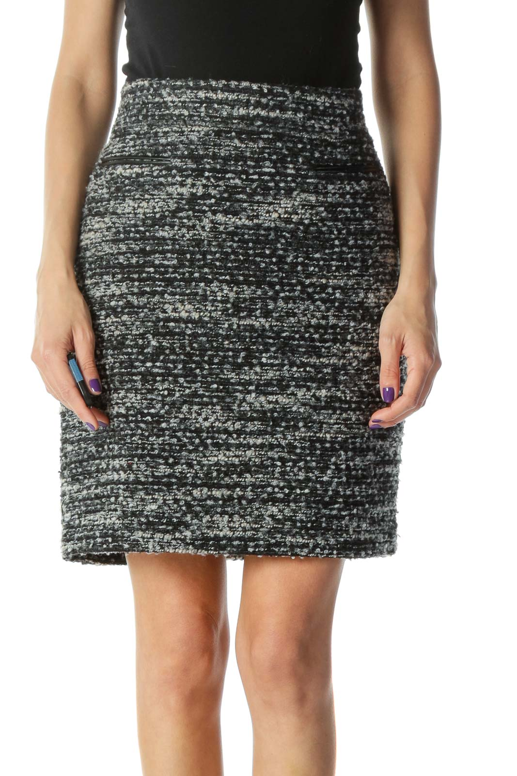 Black and Grey Knit Pencil Skirt