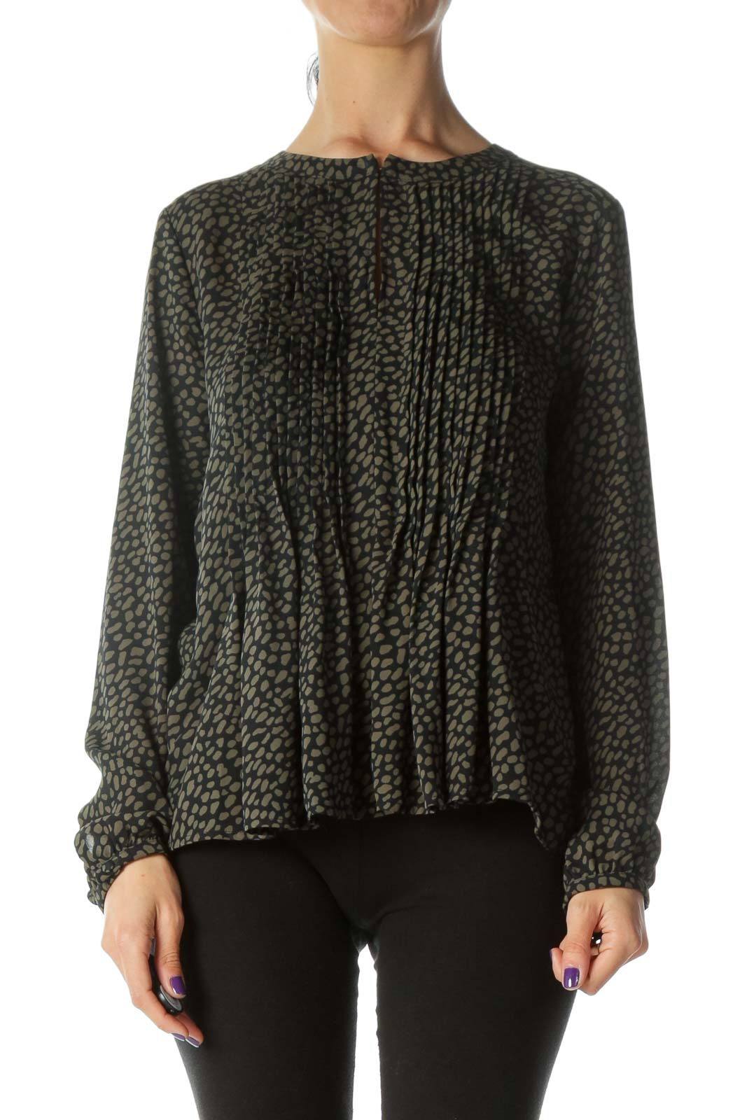 Olive & Black Patterned Pleated Long Sleeve Blouse