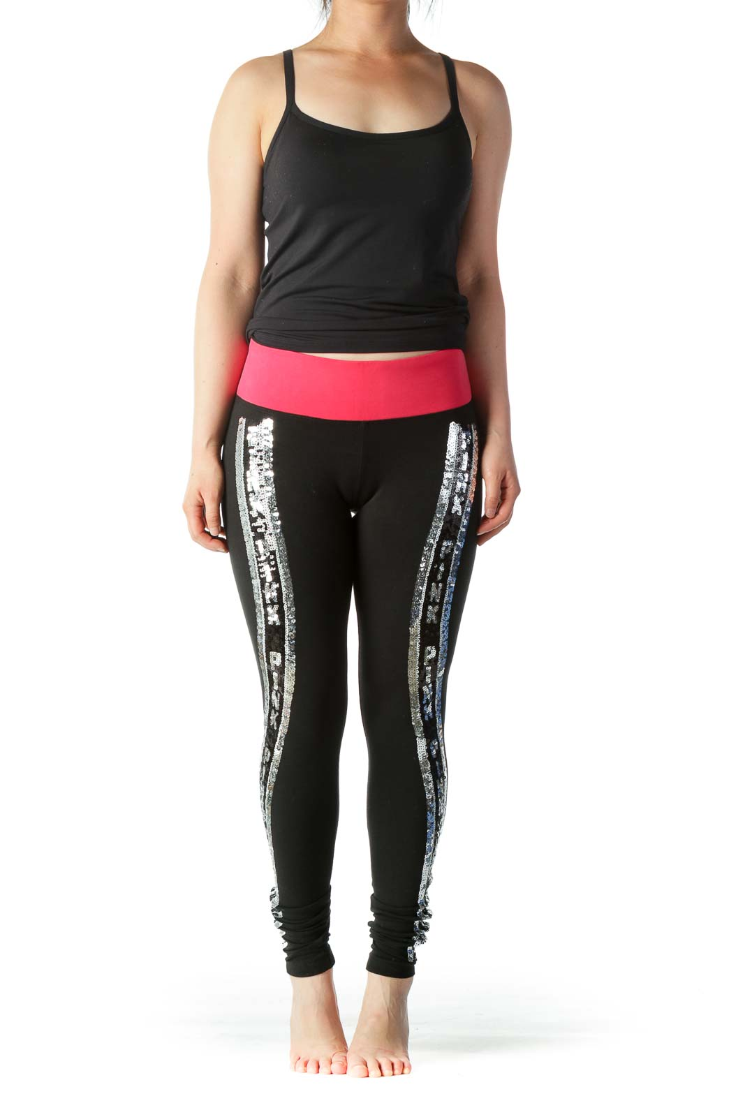 Black, Silver and Pink Sequined Legging