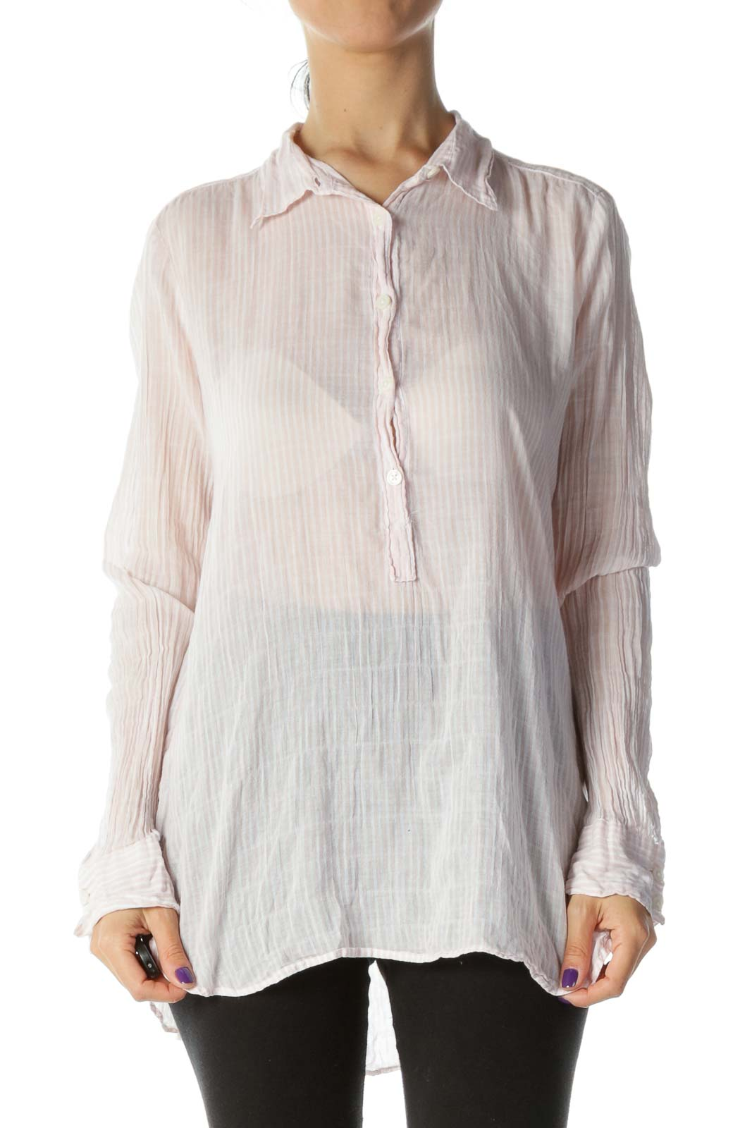 Pink & White Striped Long-Sleeve Light-Weight Button-Down Shirt
