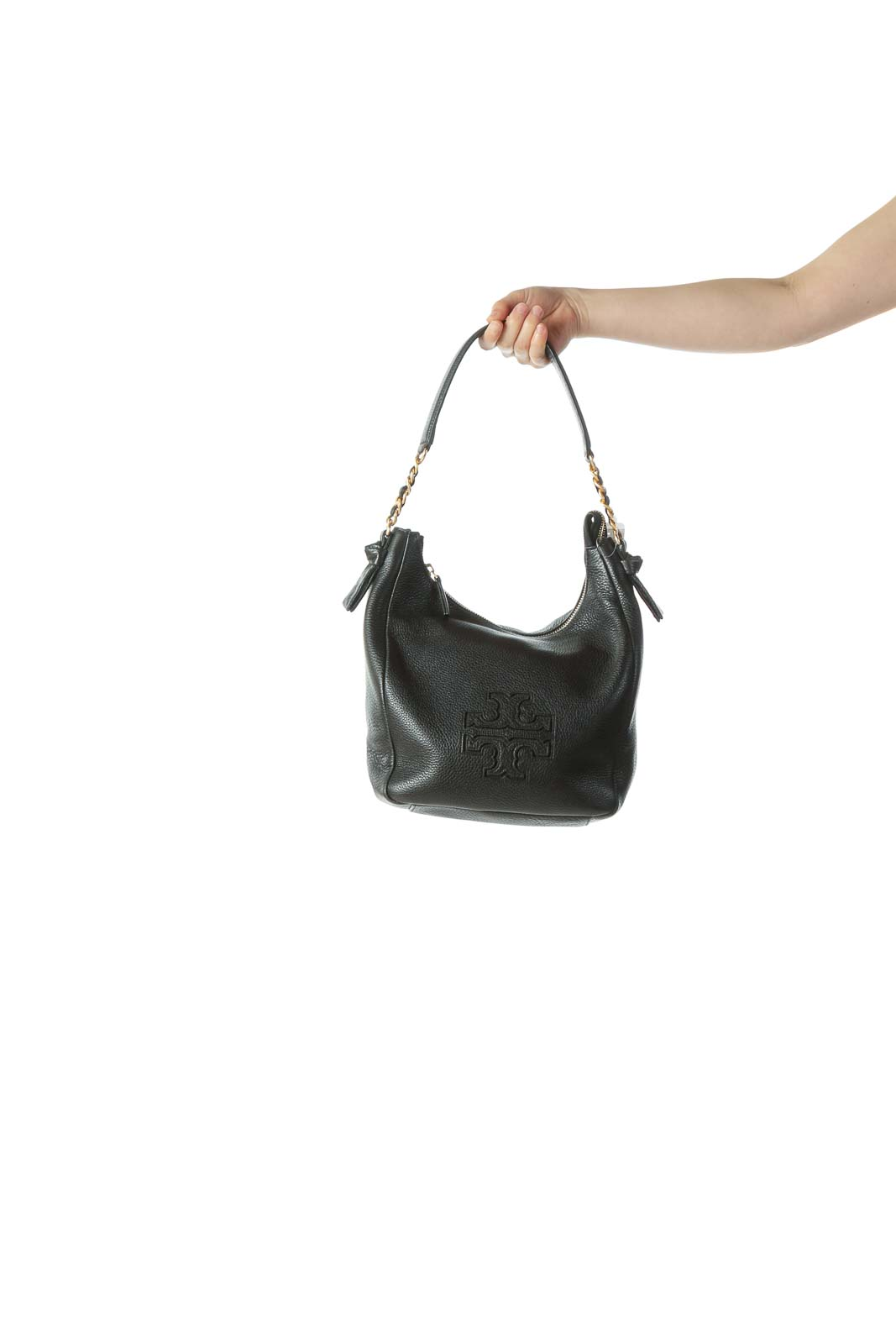 Black Gold Leather Hobo Bag