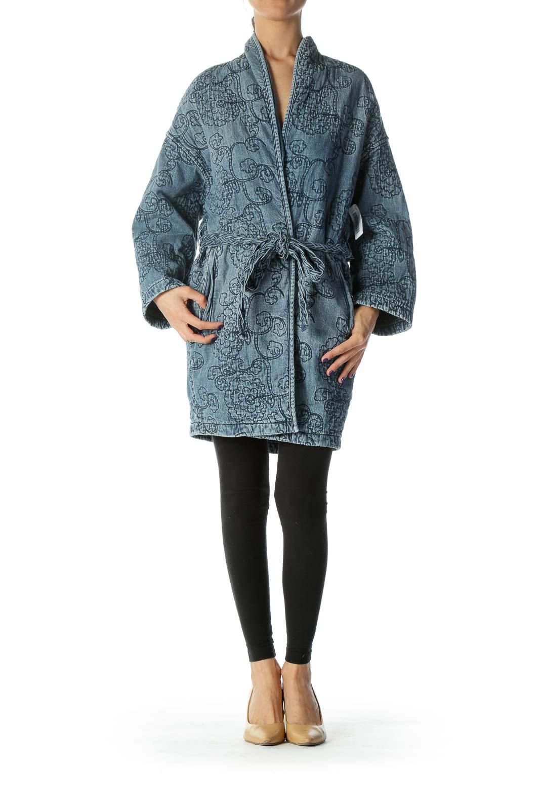 Blue Medium Wash Embroidered Belted Denim Jacket