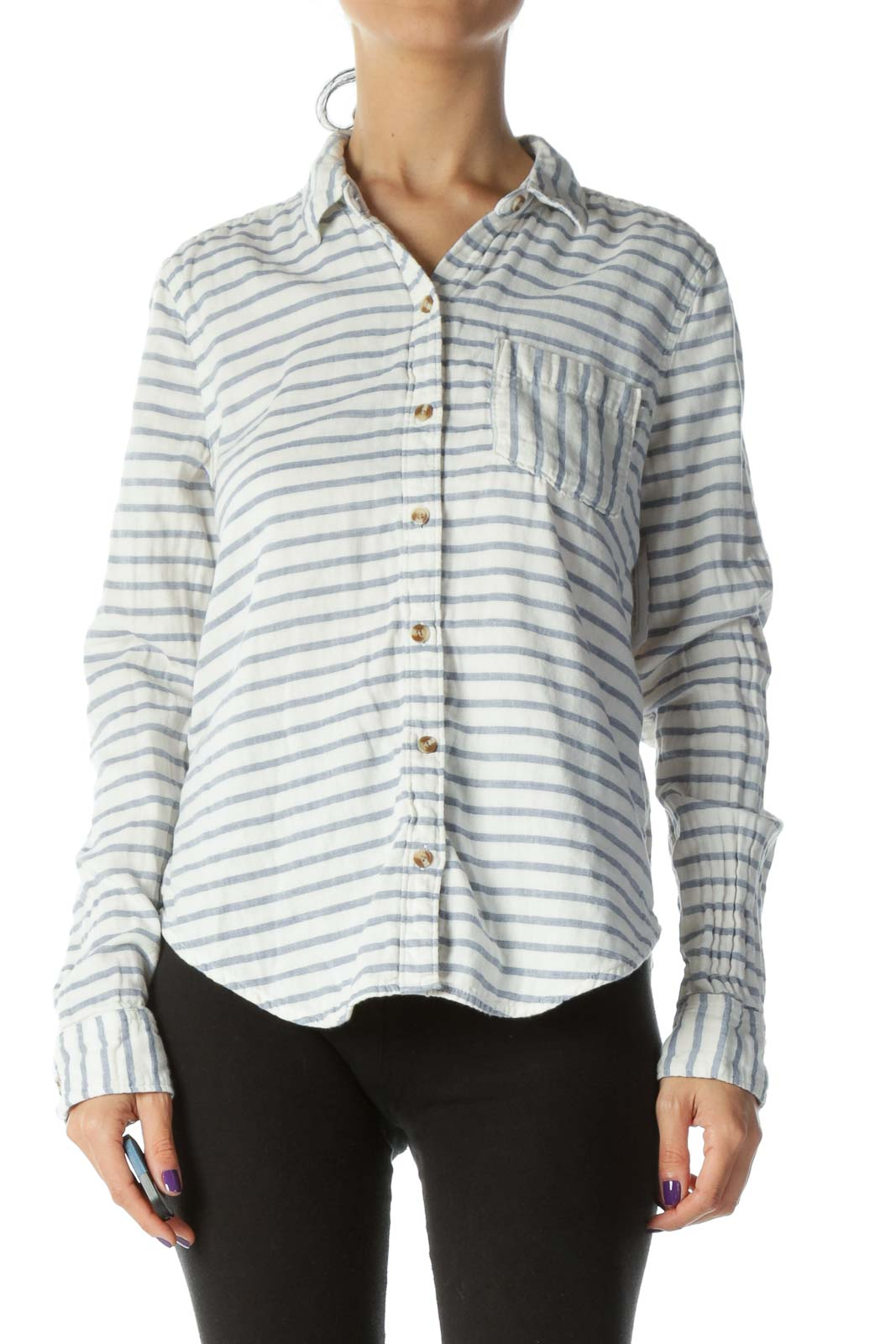 White & Blue Striped Medium-Weight Brown-Button-Down