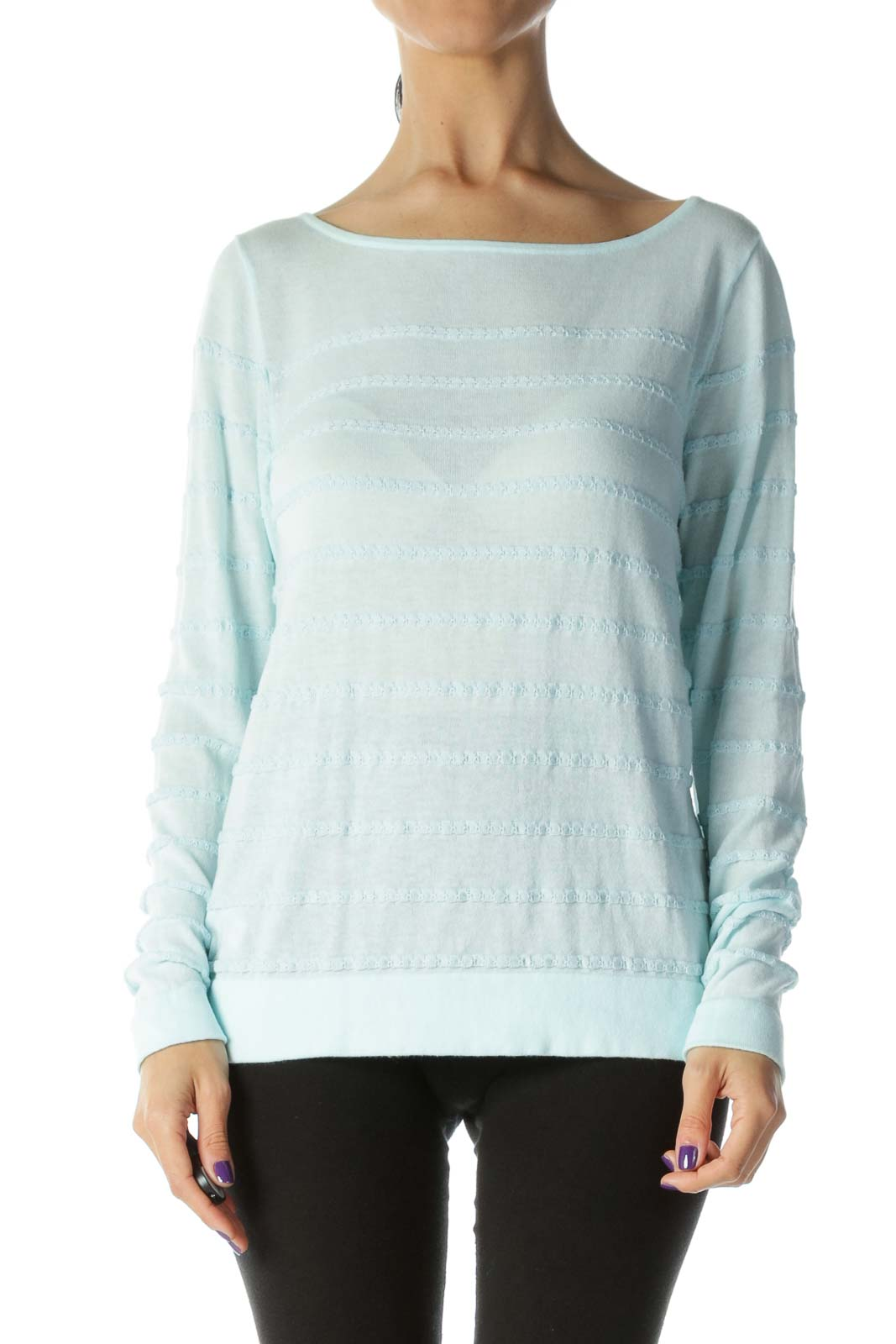 Baby Blue Light-Weight Fabric-Striped Boat-Neck Sweater