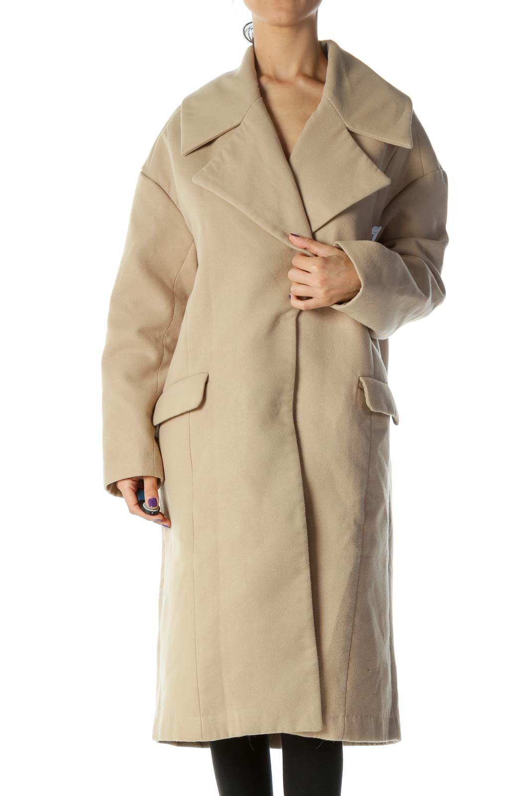 Beige Pocketed Long Single Breasted Coat