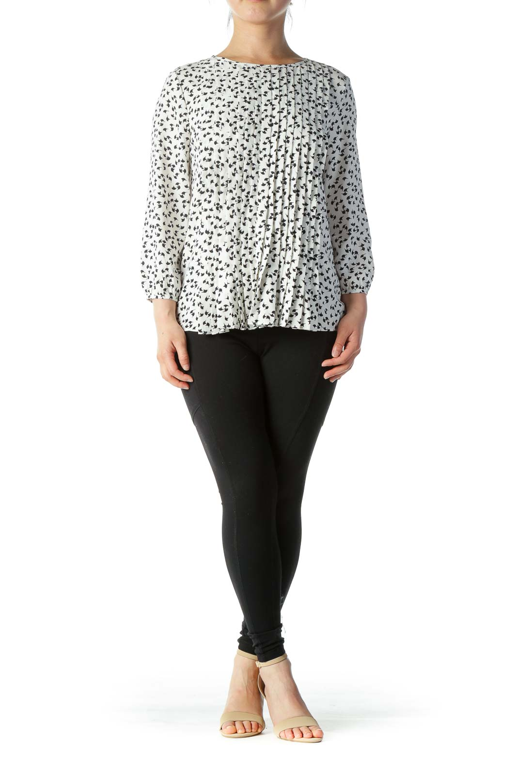 Black & White Printed Pleated Long-Sleeve Blouse