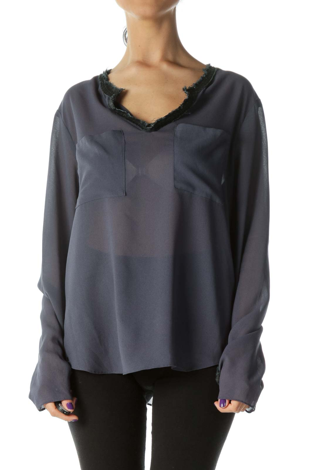 Navy Translucent Long-Sleeve Blouse with Faux-Leather Fringe Collar & Cuffs