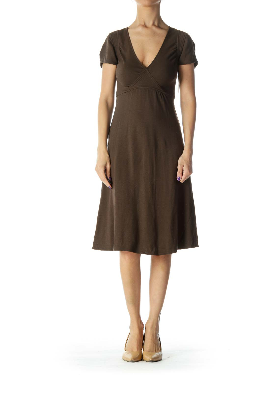Brown Vneck Detail Dress