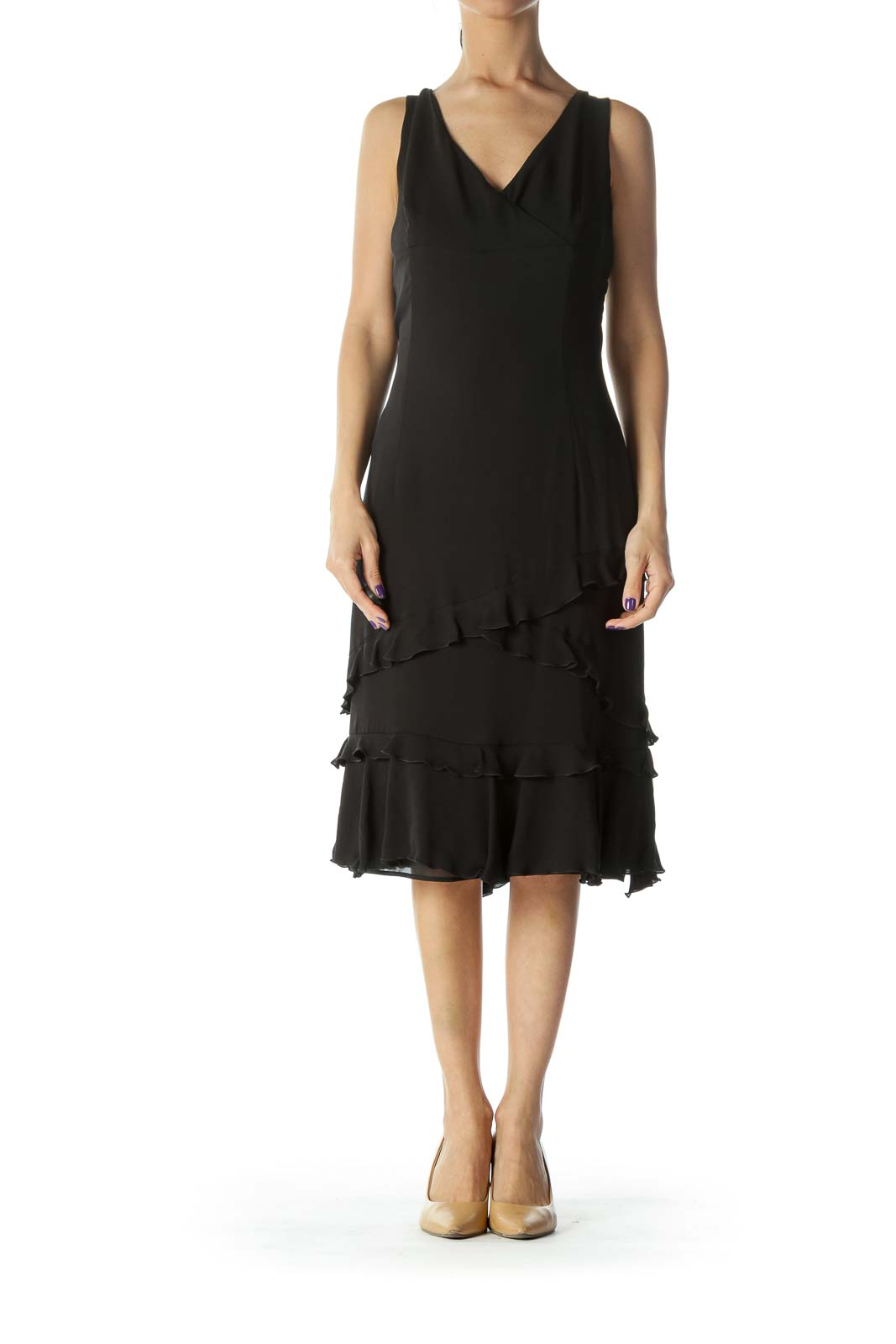 Black Ruffled Silk Dress