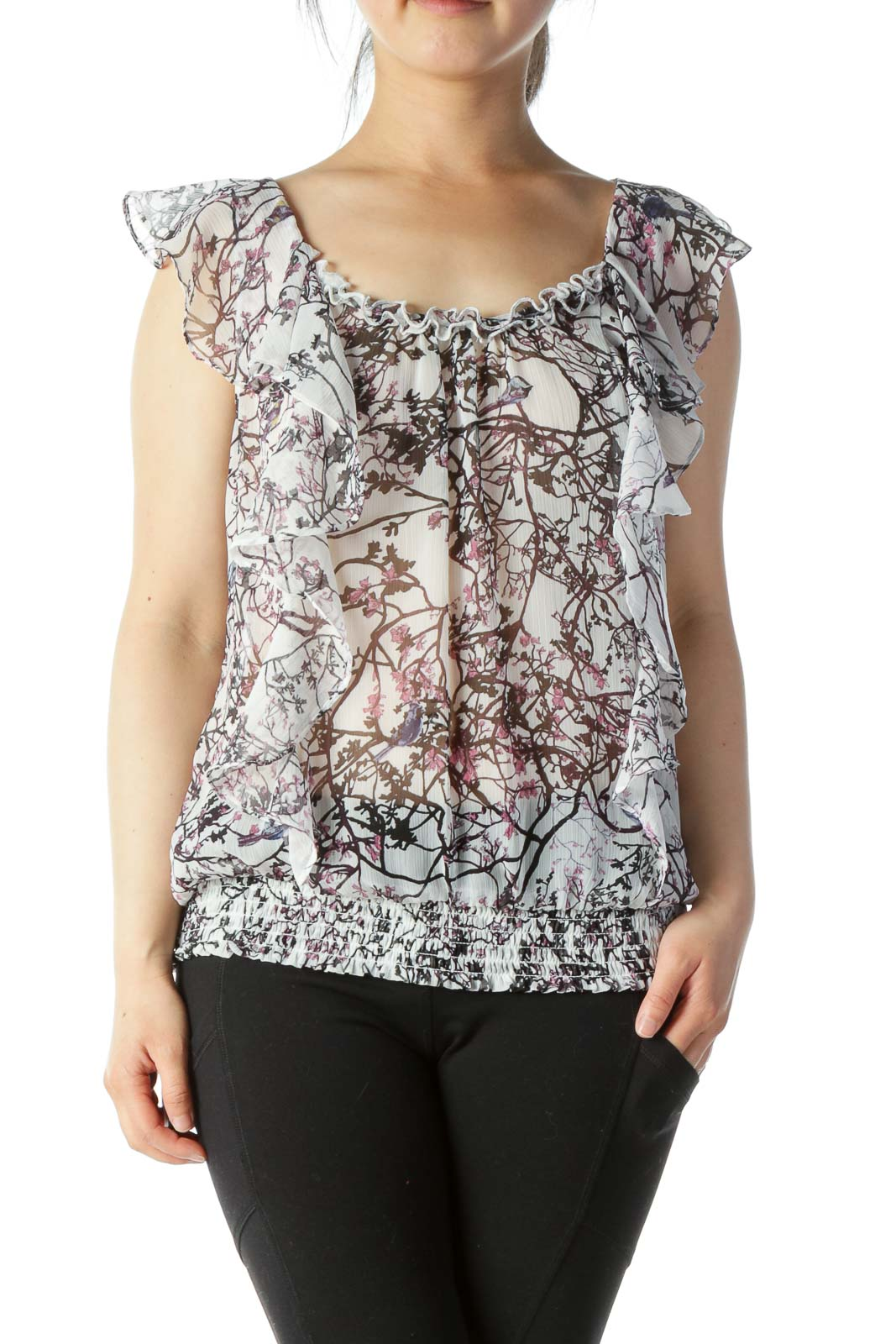 Multicolored Floral-Print Ruffled Translucent Cinched-Waist Blouse