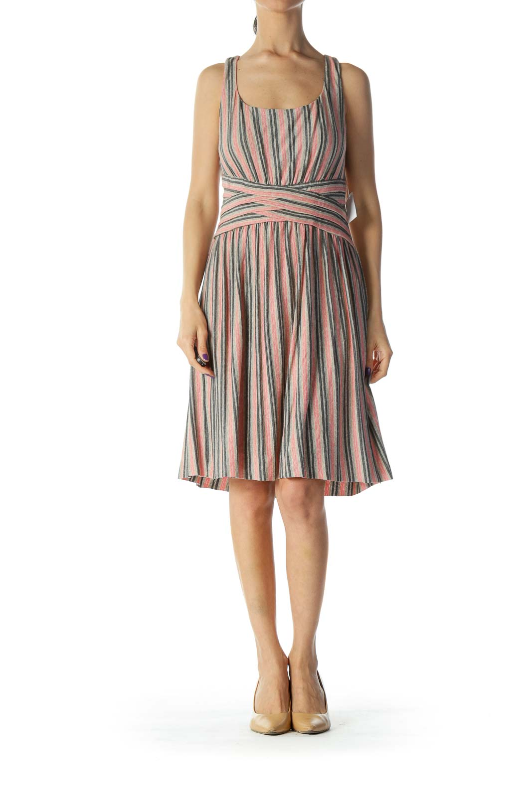 Beige Pink Printed Jersey Dress