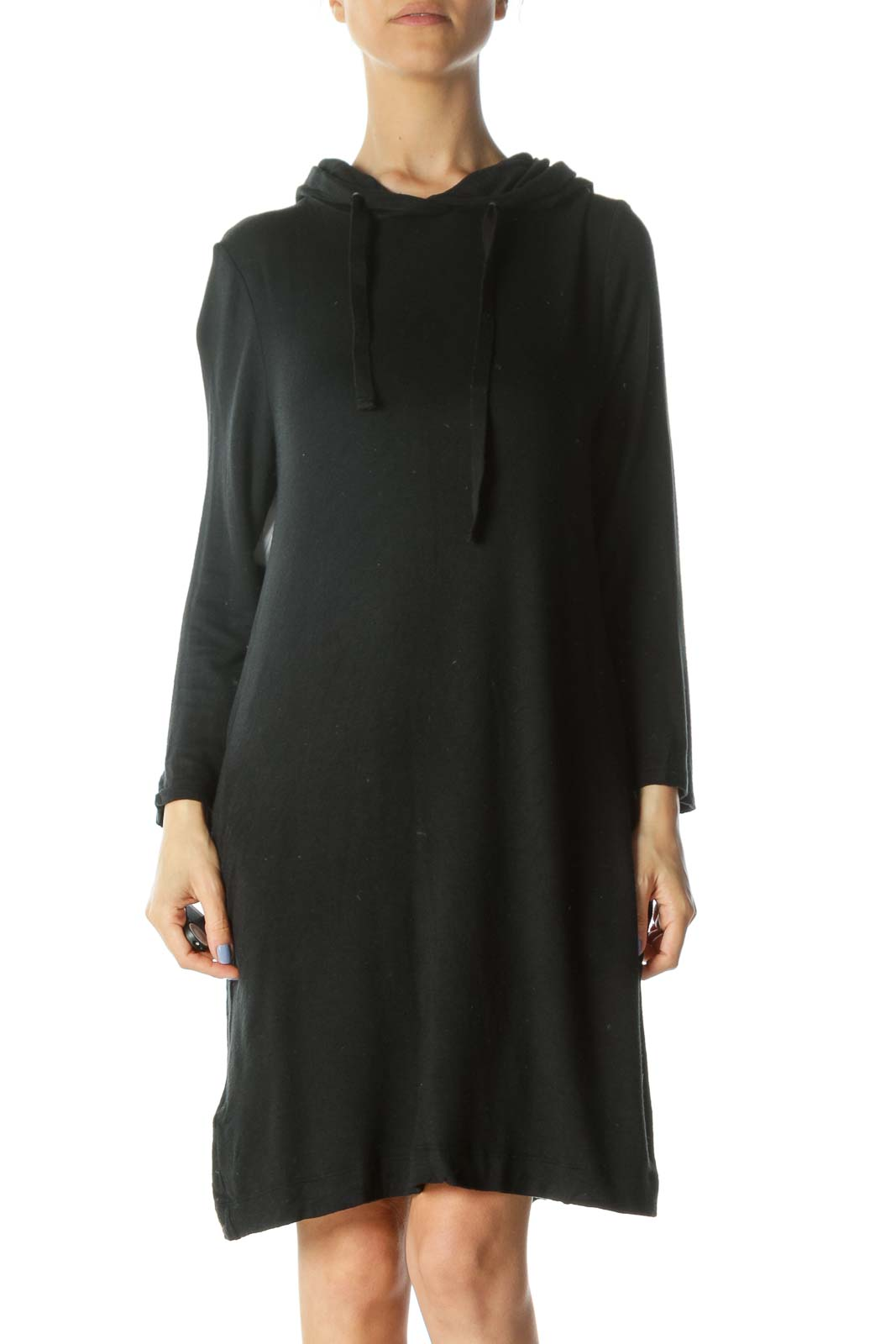 Black Hooded 3/4-Sleeve Soft Jersey-Knit Dress