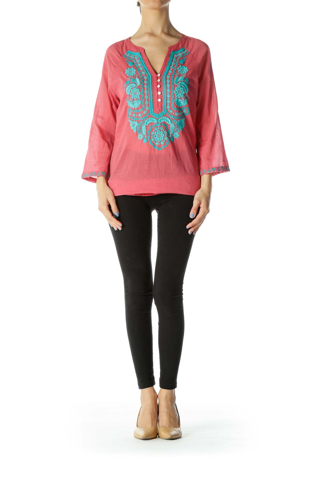 Coral-Pink/Blue Buttoned Embroidered Accent Tunic
