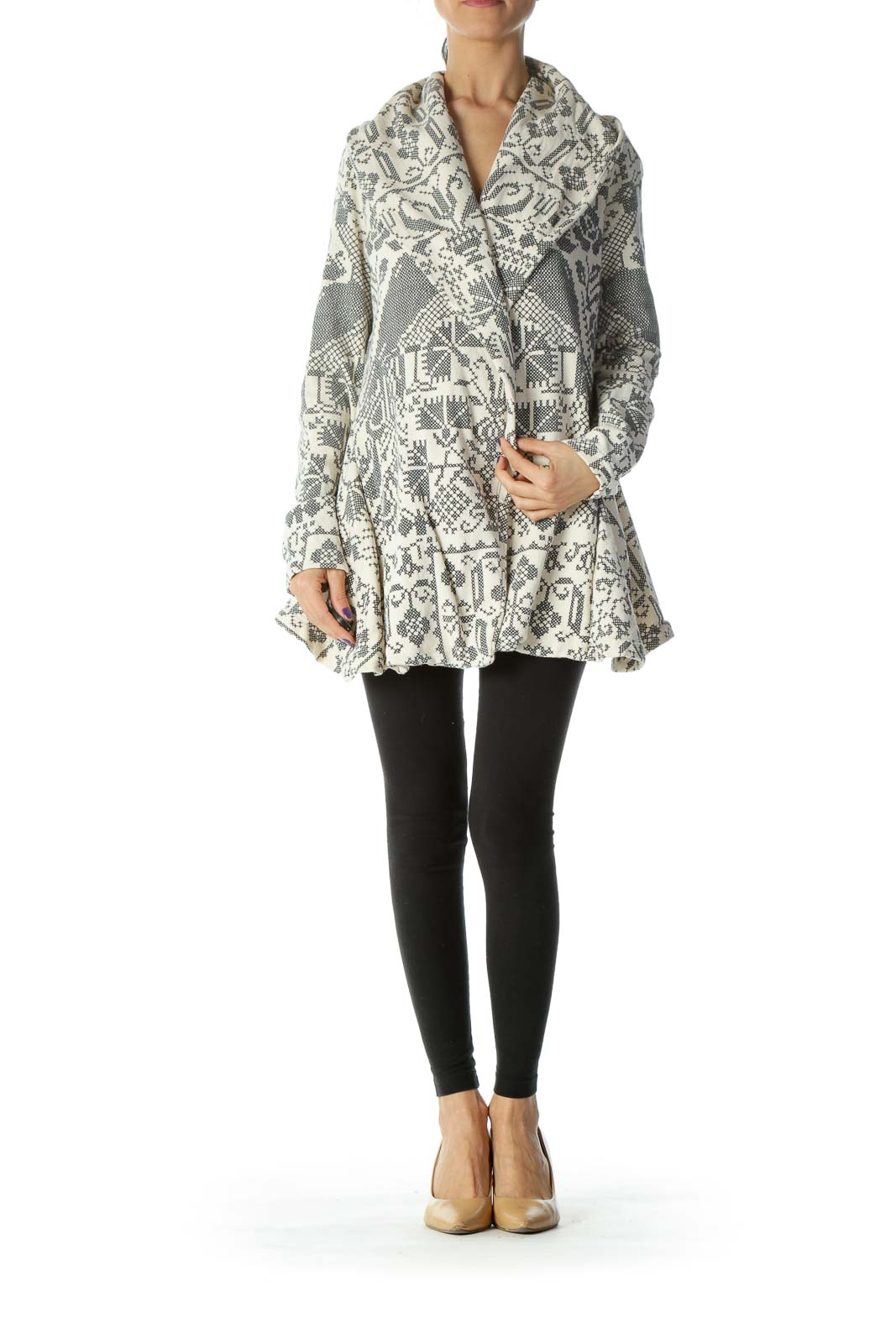 Cream Printed Fleece Cardigan