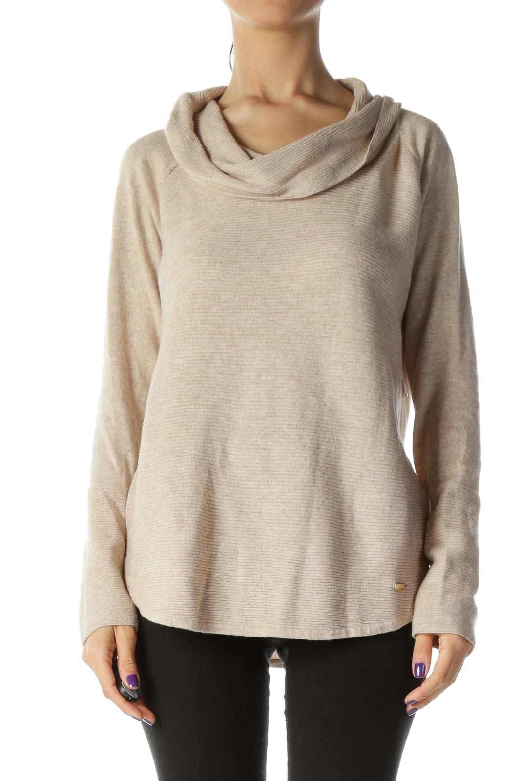 Beige Cowl Neck Ribbed Sweater