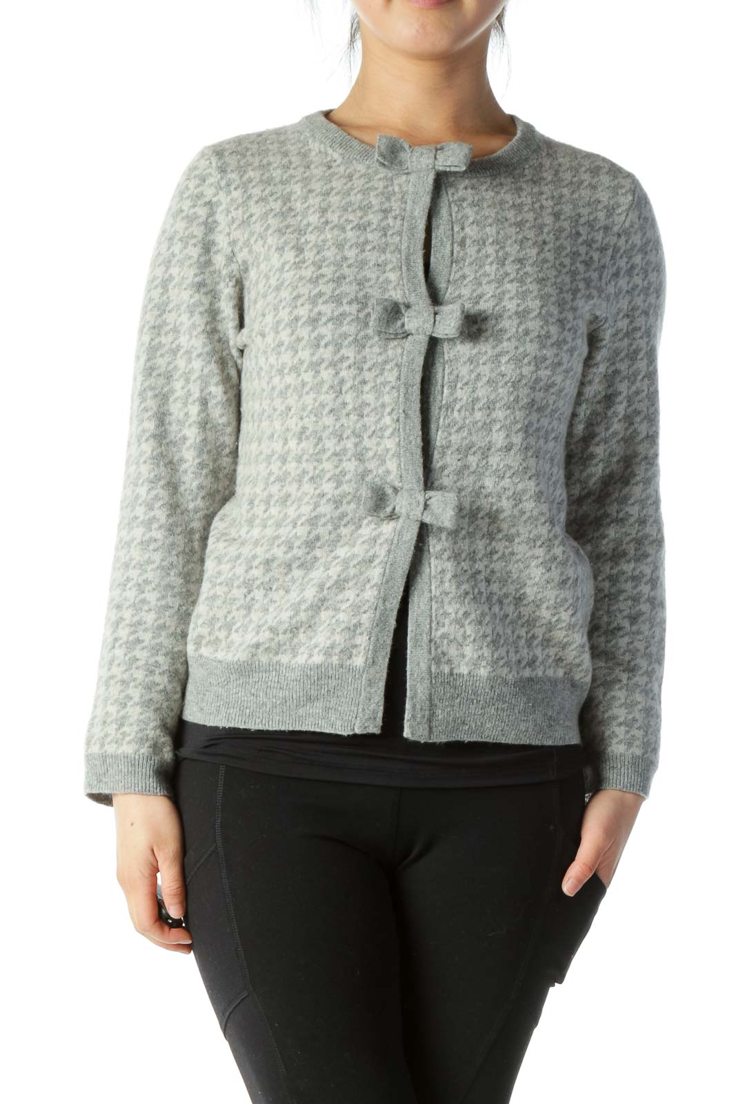 Gray Houndstooth Wool Cardigan