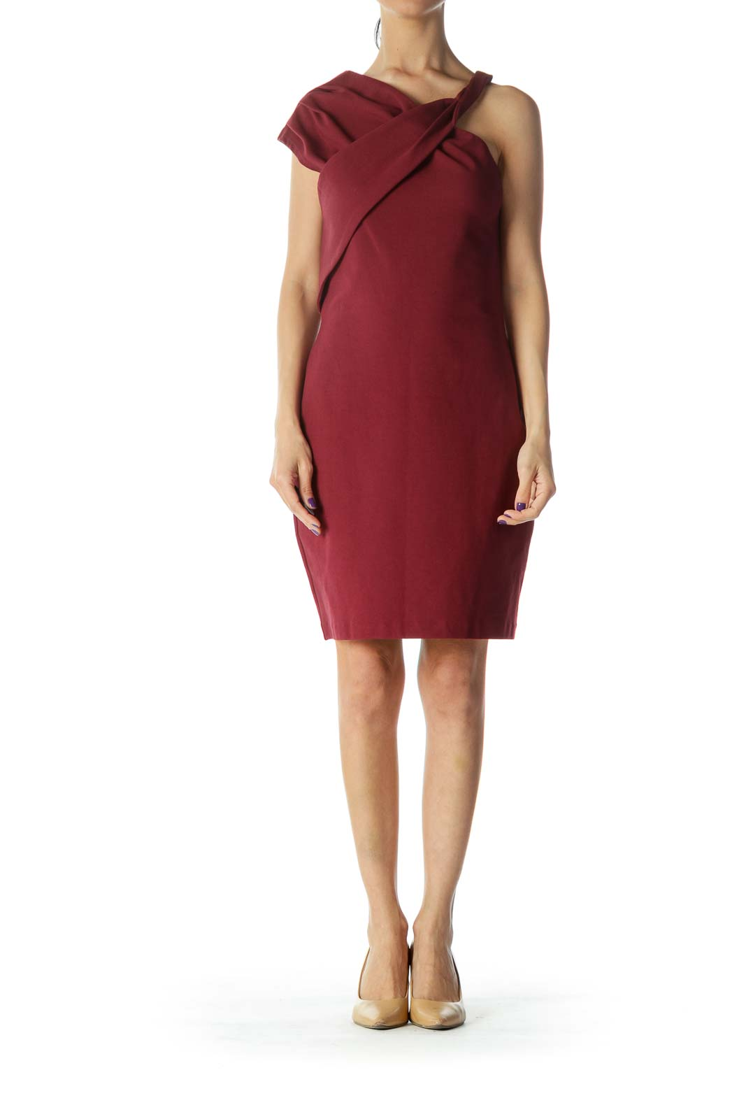 Red Asymmetric Bodycon Dress