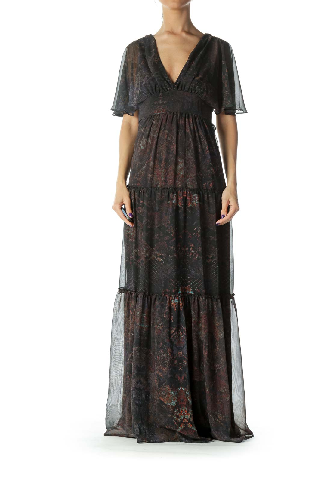 Black Print Silk Maxi Dress