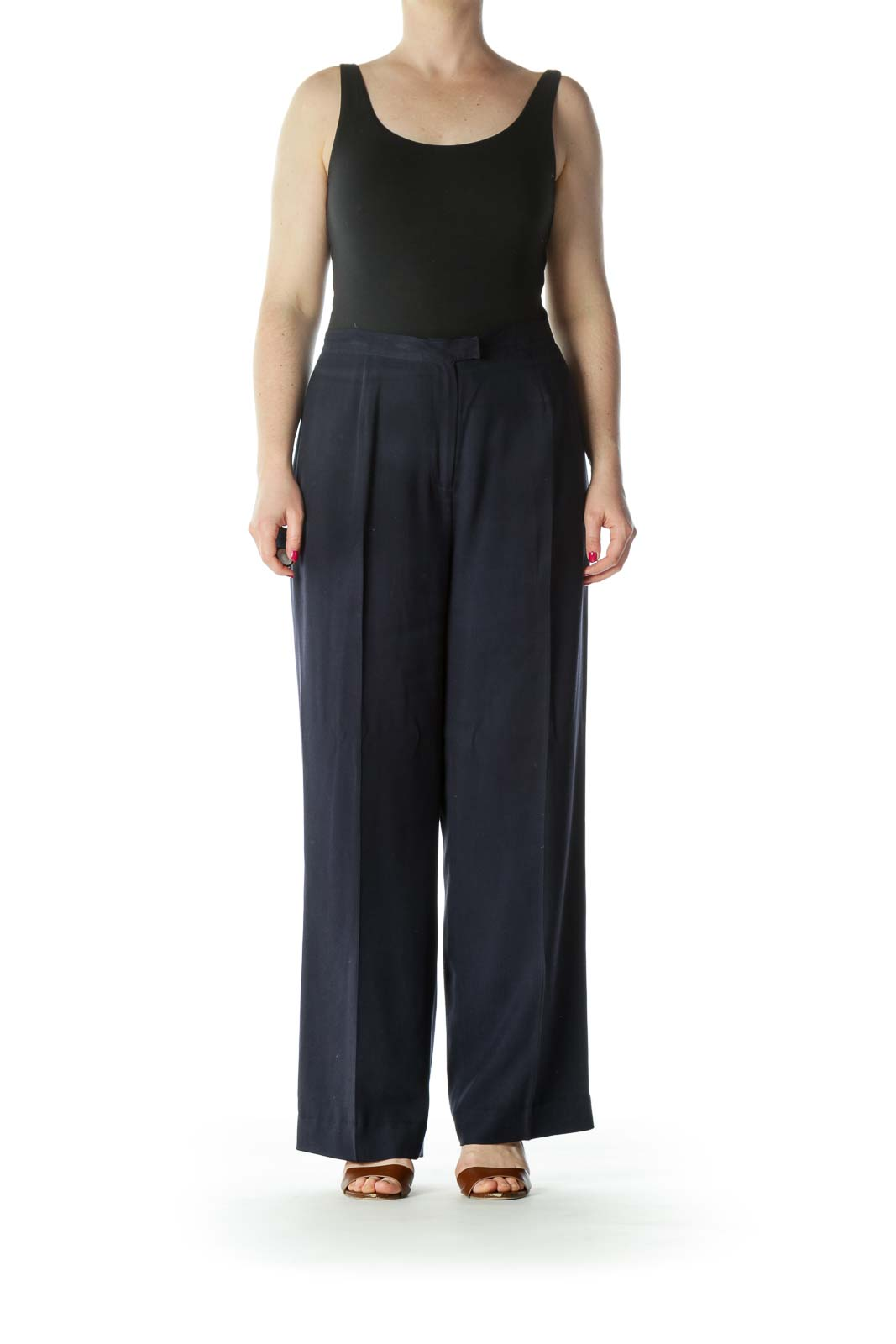 Navy Silk Wide Leg Pant