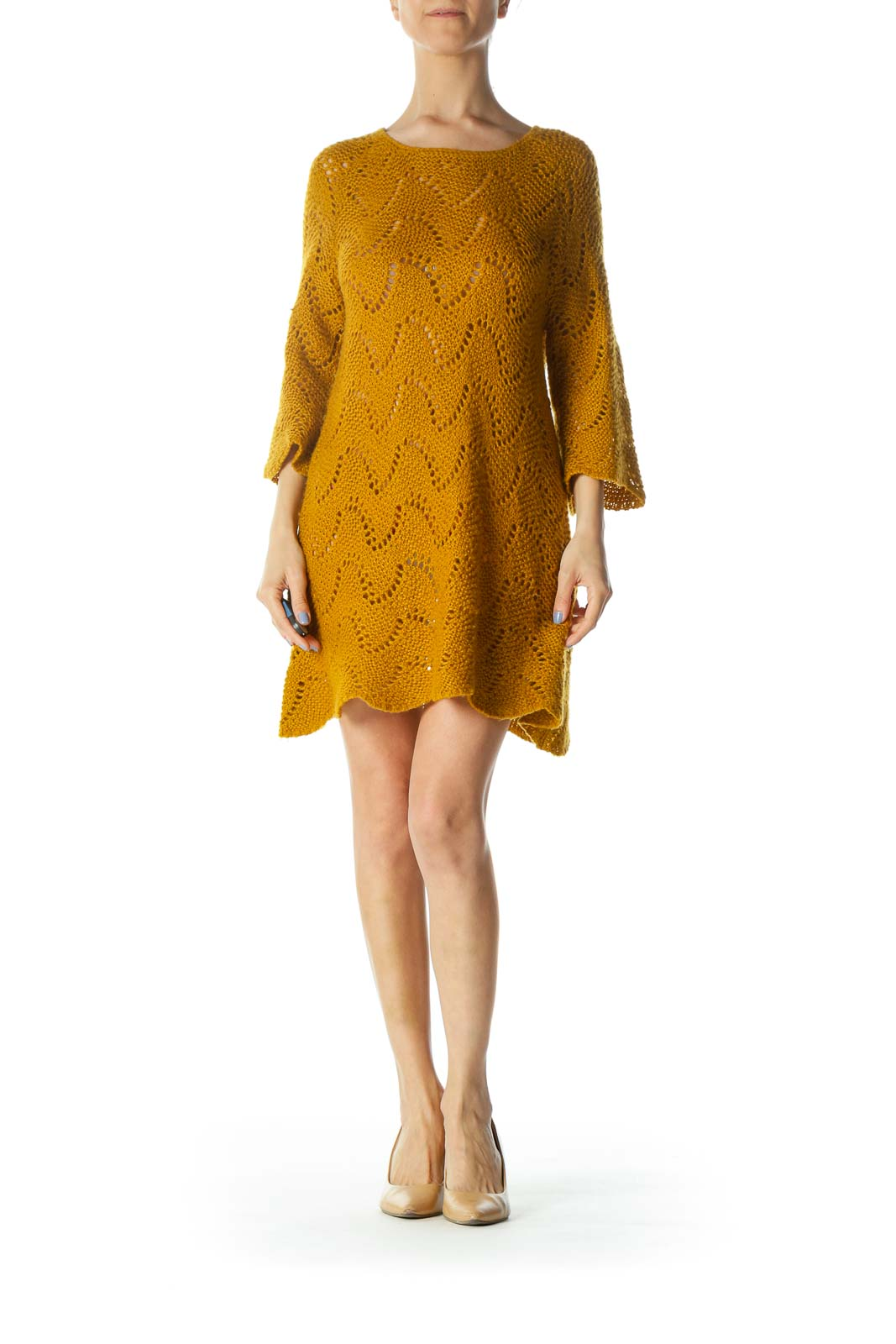 Mustard-Yellow Round-Neck Long-Sleeve Knit See-Through Dress