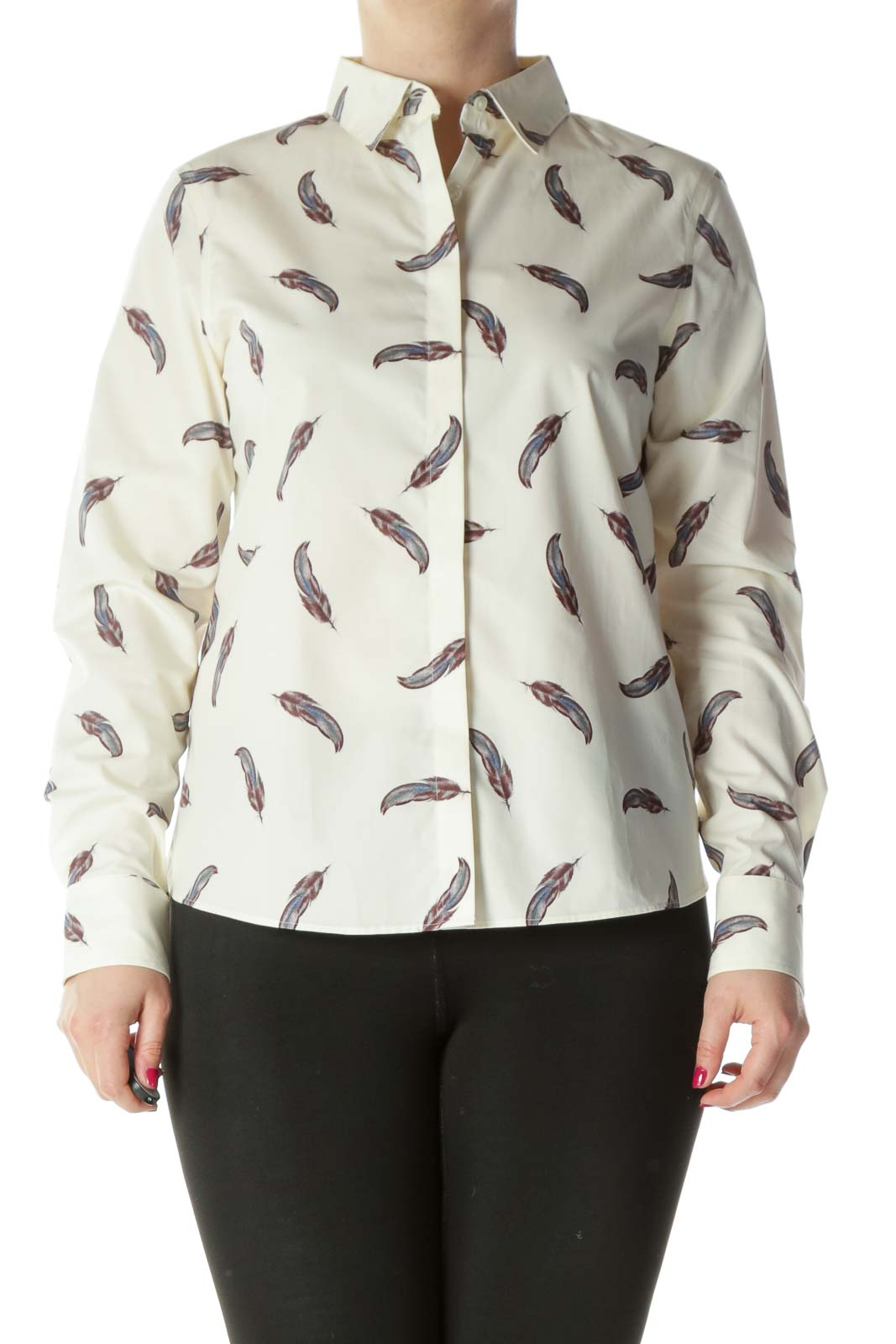 Cream Blue Red Feather Shirt