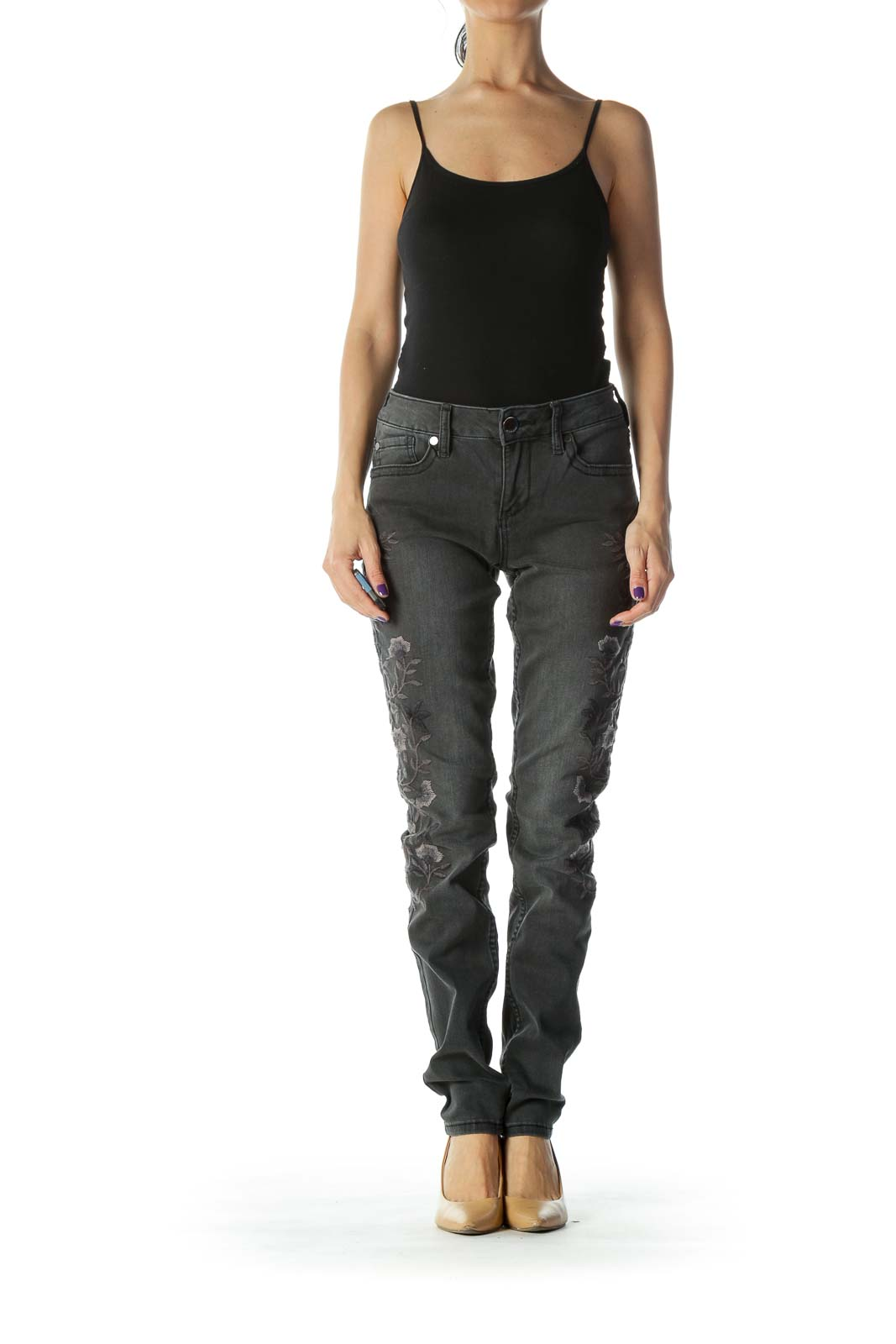 Black Embroidered Skinny Jean