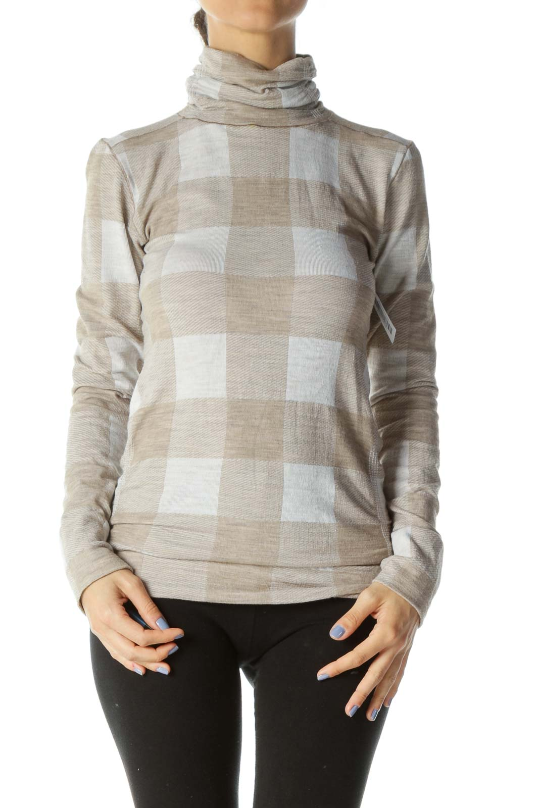 Beige/White Turtle-Neck Long-Sleeve Textured Gingham Knit Activewear Top