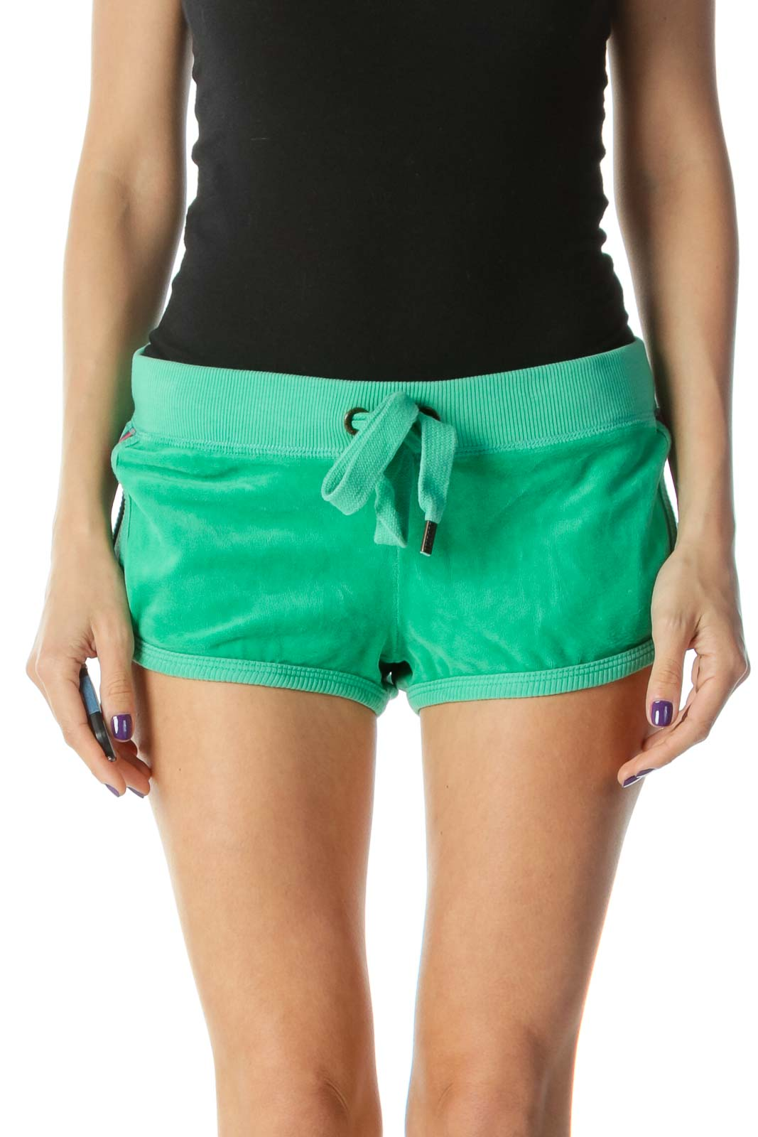 Green Velour Shorts